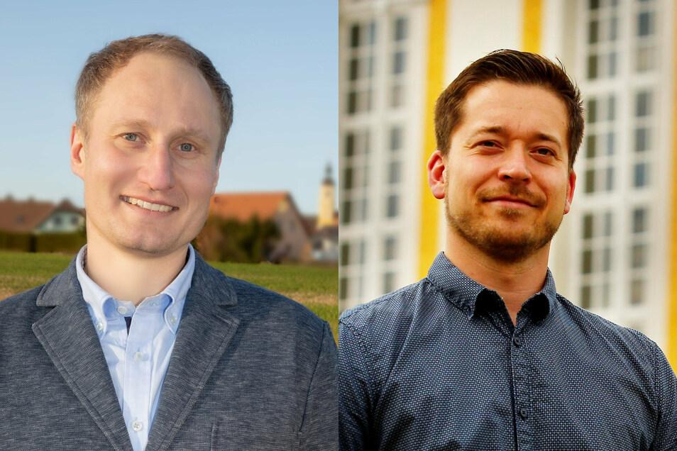 Thomas Perjak (l.) und Johannes Nitzsche bewerben sich um das Bürgermeisteramt in Oßling.