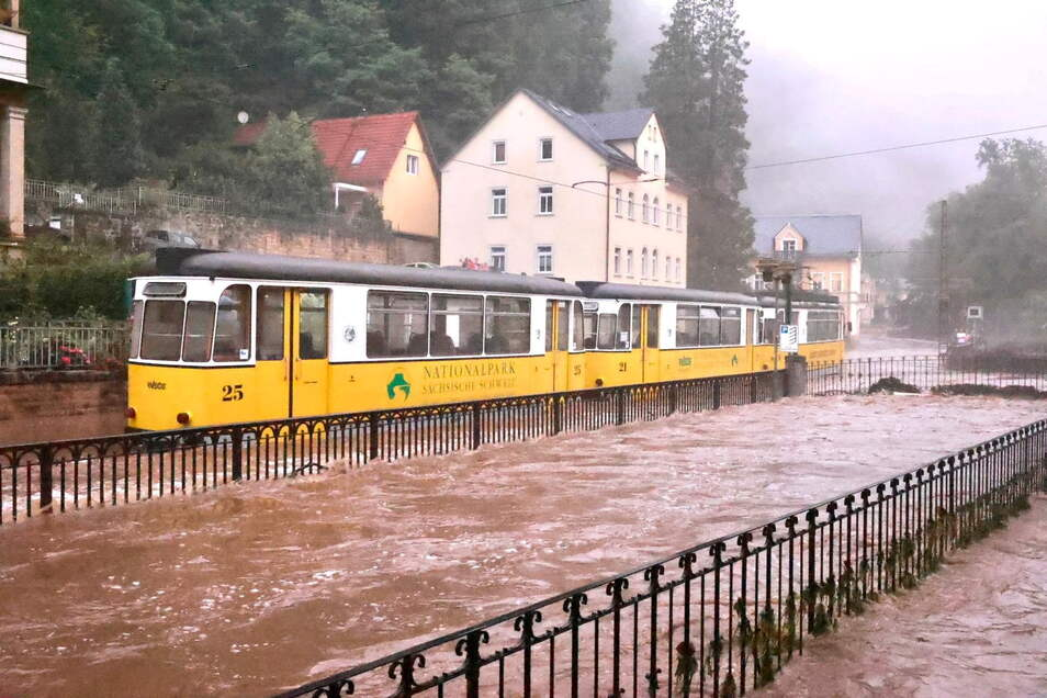 Bad Schandau in der Sächsischen Schweiz ist besonders vom Hochwasser betroffen.