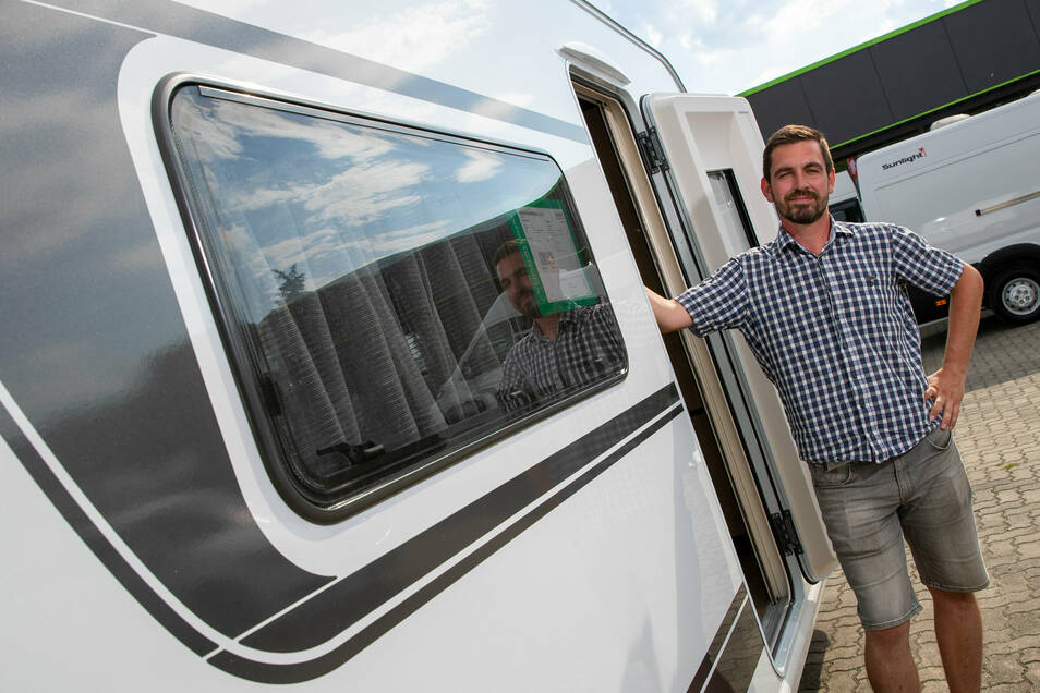Oliver Polz vom Autohaus Kult in Pirna: Im Sommer sind alle Wohnmobile ausgebucht.