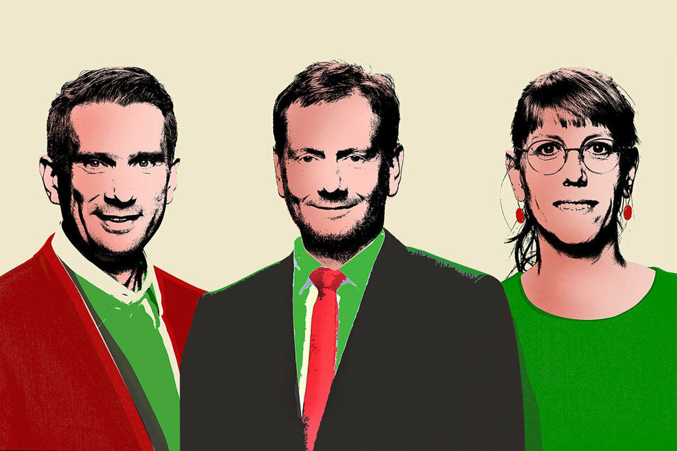 Die Köpfe der Koalition: Martin Dulig, Michael Kretschmer und Katja Meier.