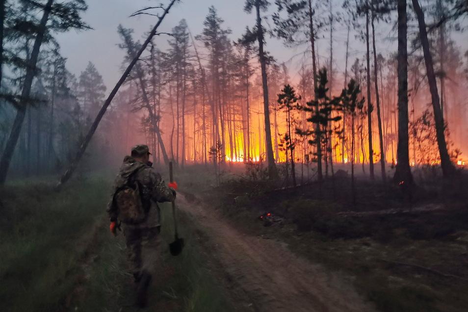 Freiwillige löschen einen Waldbrand in der Republik Sacha, auch bekannt als Jakutien, im Fernen Osten Russlands.