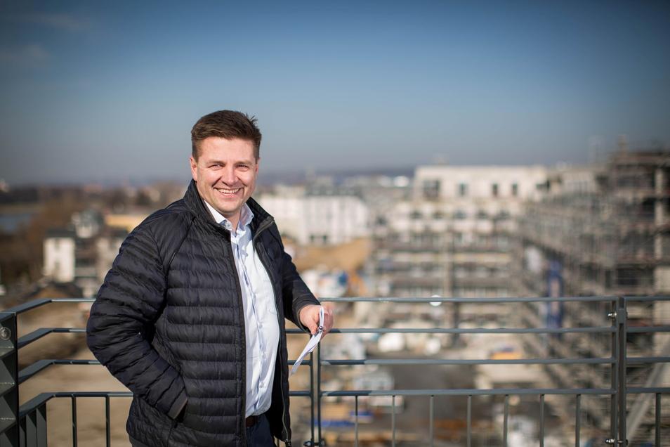 Sebastian Forkert von Unser Schönes Dresden (USD) ist der Projektleiter der Hafencity Dresden.