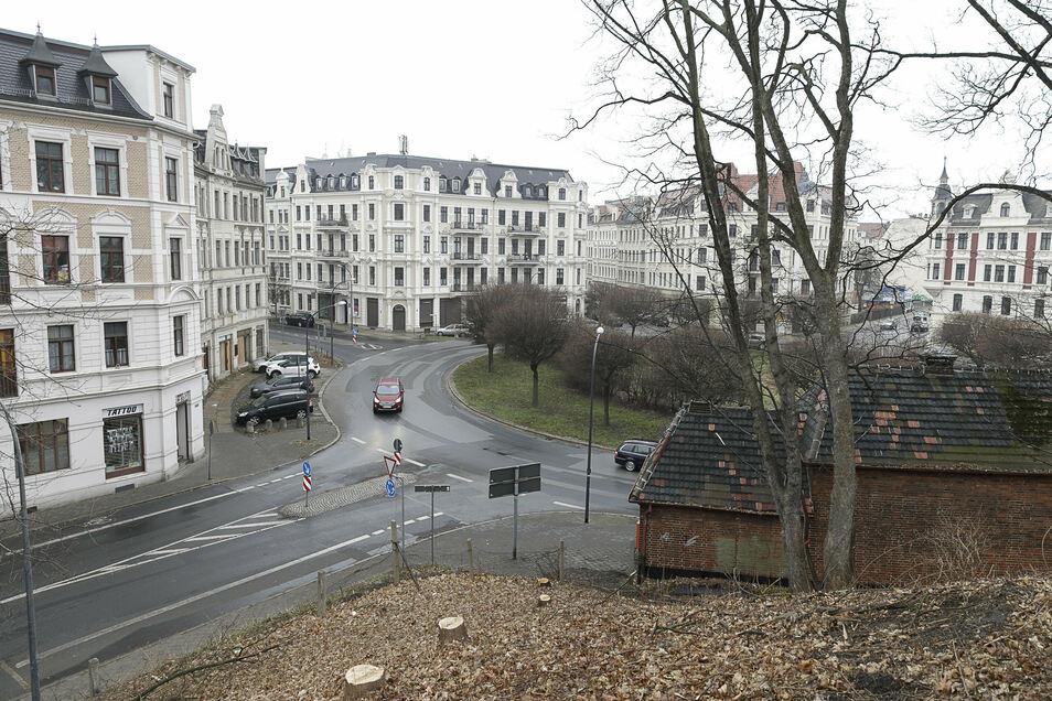 Vom Brautwiesenpark runter zum Brautwiesenplatz hat die Stadt einige Bäume abholzen lassen. Hier soll eine neue Treppe gebaut werden.