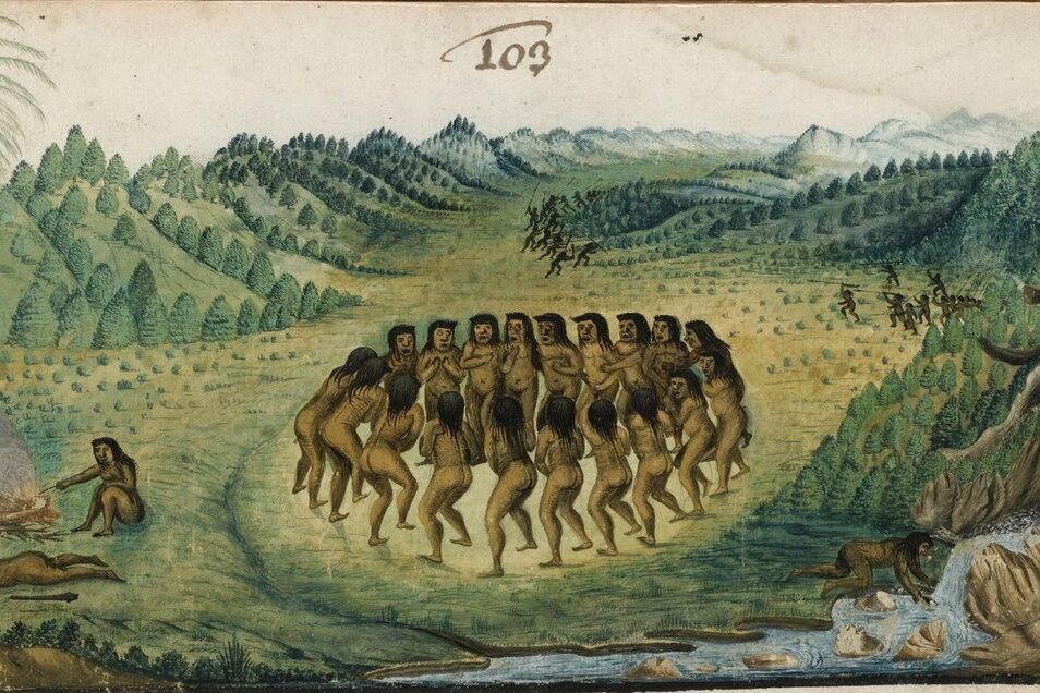 """Zacharias Wagner malte das Bild 1637/1641. Der Titel """"Tanzende Negersklaven"""" (Ausschnitt) wurde nun umbenannt in """"Tanzende Tapuya Amazoniens"""""""