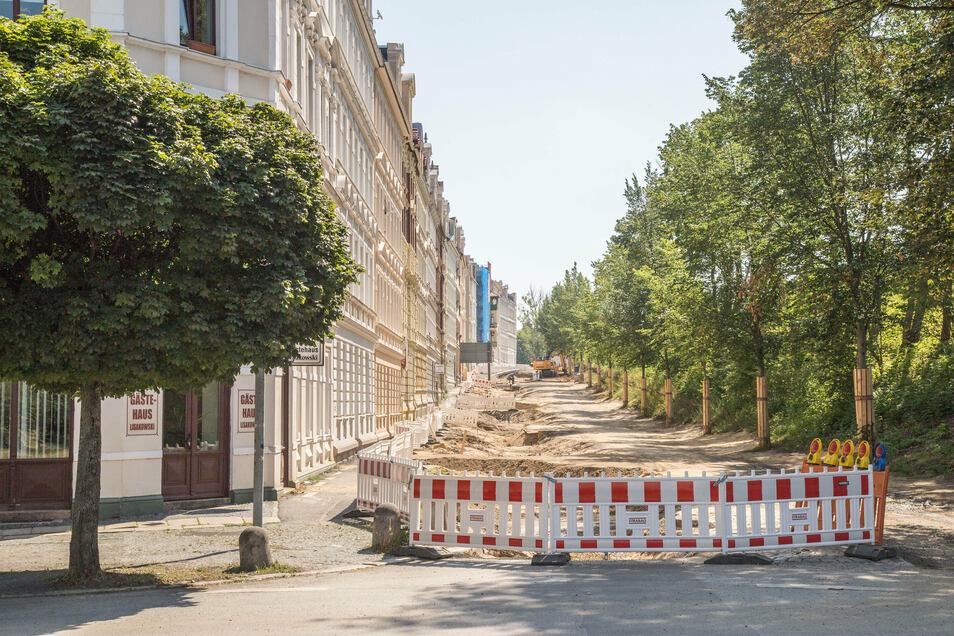 Die Bahnhofstraße in Görlitz ist derzeit zwischen Brautwiesenplatz und Krölstraße eine Baustelle.