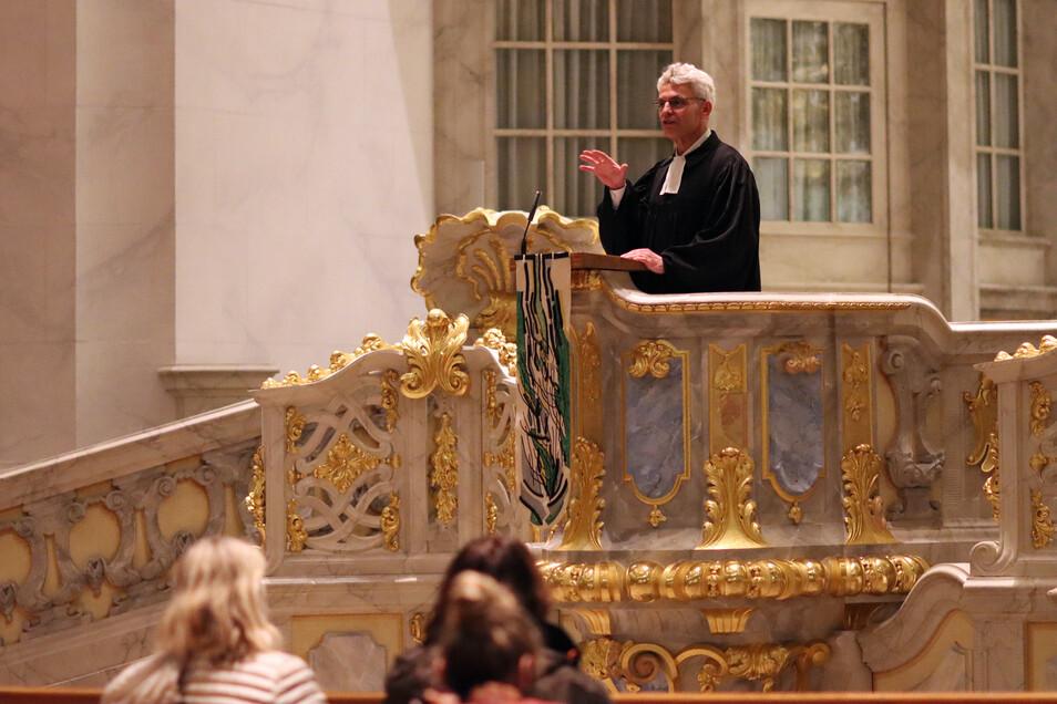Markus Engelhardt beim Vorstellungsgottesdienst in der Frauenkirche