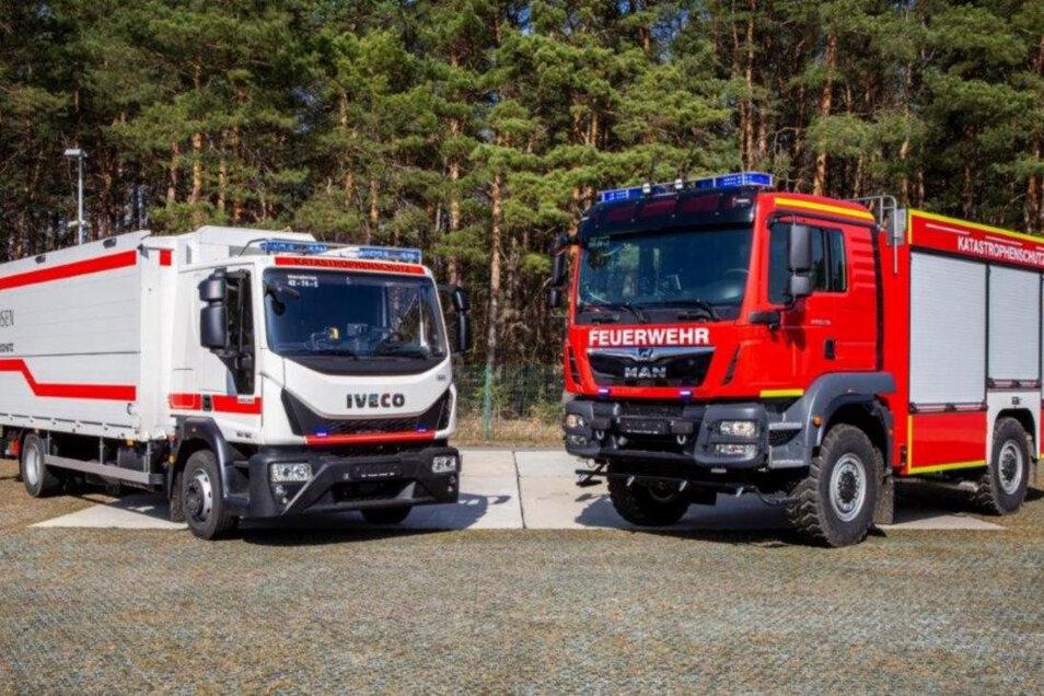 Ein Lkw für Meißen, ein Lkw für Gröditz: zwei der neuen Katastrophenschutzfahrzeuge.