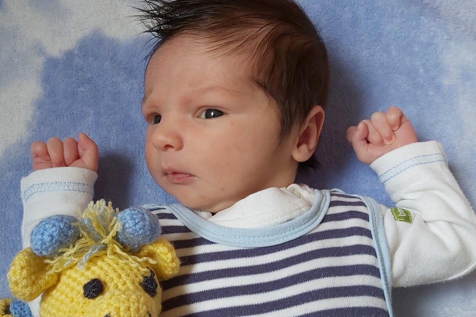Gustav, geboren am 3. März, Geburtsort: Dresden, Gewicht: 3.550 Gramm, Größe: 53 Zentimeter, Eltern: Daniela Heß und Karsten Schöps, Wohnort: Neukirch/L.