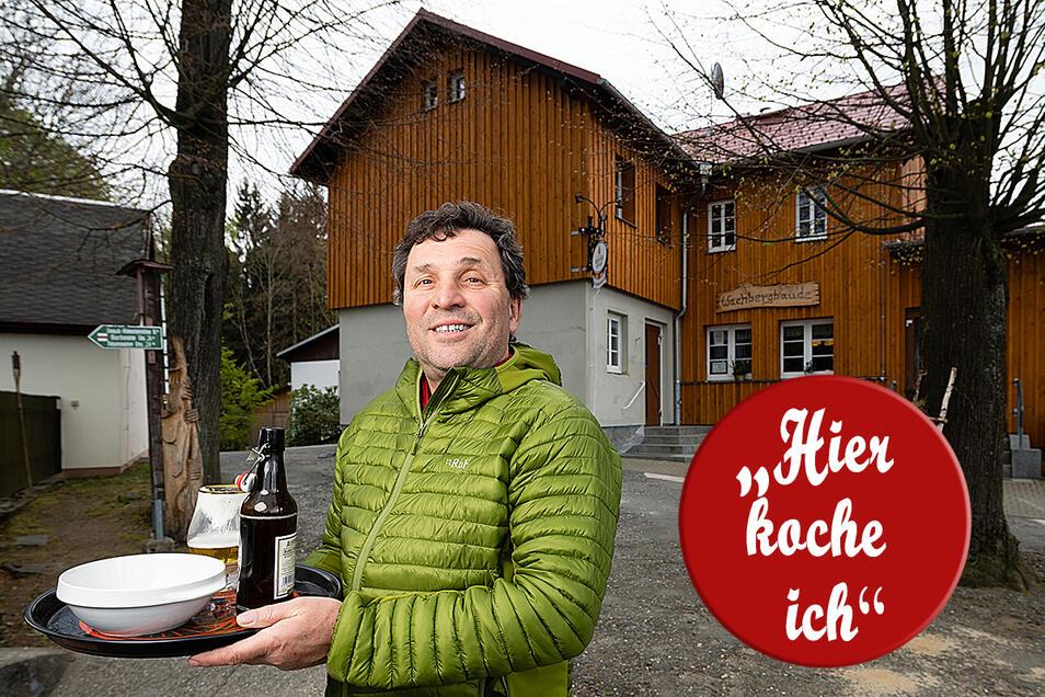 Eigentümer Arndt Rußig hat sich entschieden, an den Wochenenden an der Wachbergbaude einen Außer-Haus-Verkauf einzurichten