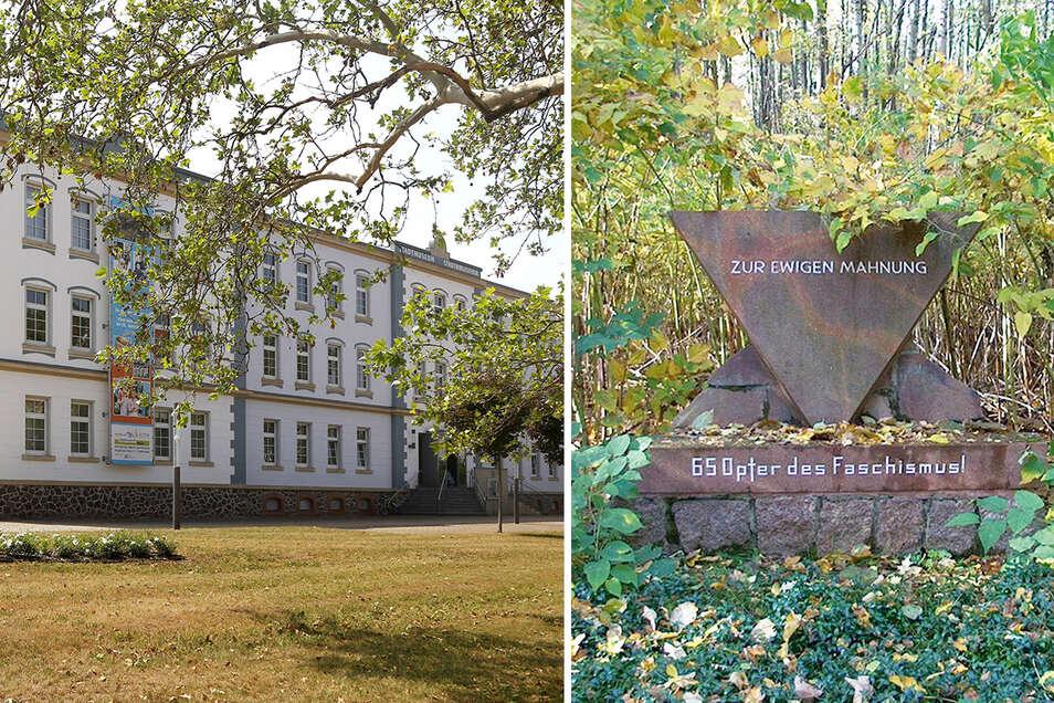 Ein Gedenkstein in Glaubitz erinnert an die Opfer des Faschismus (r.). Ein Vortrag im Stadtmuseum Riesa (l.) widmet sich den Todesmärschen kurz vor Kriegsende.