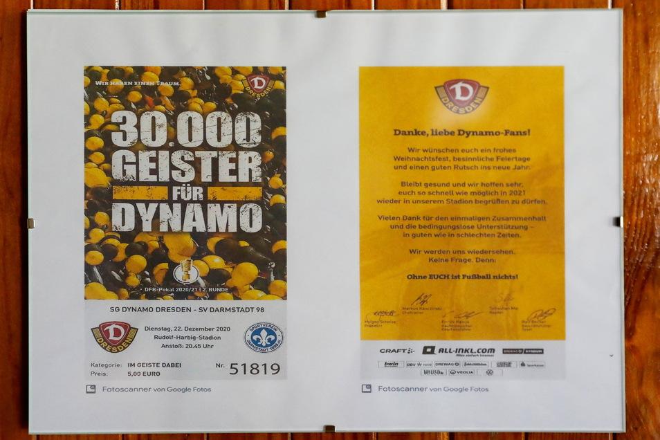 """Auch bei der Aktion """"30.000 Geister für Dynamo"""" hat sie 2020 mitgemacht. Sie hat für fünf Euro ein Ticket vom Pokalspiel gegen Darmstadt gekauft, obwohl wegen Corona niemand ins Stadion durfte."""