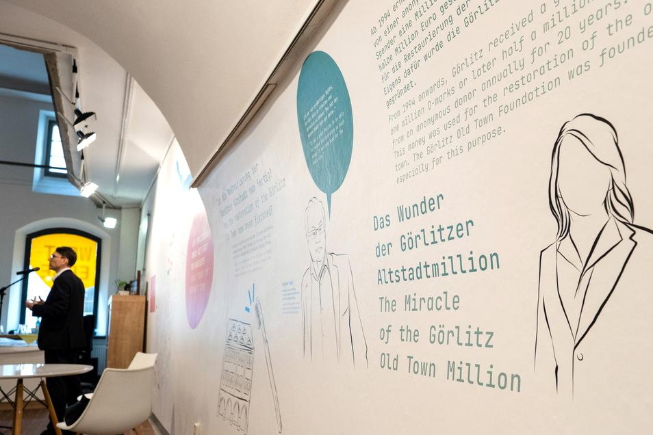 Auch der Görlitzer Altstadtmillion und ihrem anonymen Spender ist eine Wand gewidmet.
