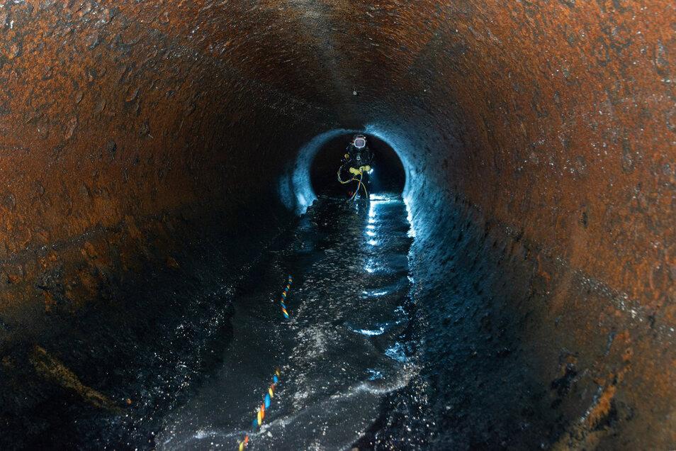 Im Abwassertunnel unter der Elbe in Dresden.