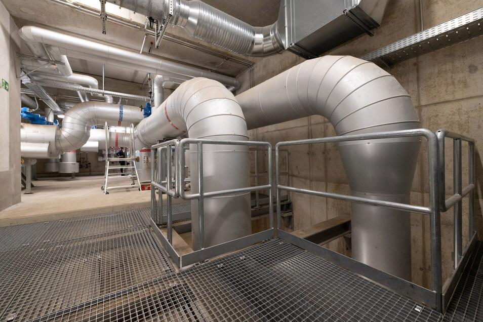 Durch diese Rohre strömt das 120 Grad heiße Wasser in Richtung Pieschen und etwas abgekühlt wieder zurück.