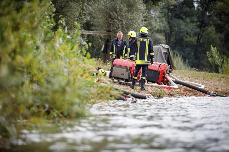 Feuerwehrleute haben ihre Pumpen ans Ufer gestellt und Schläuche verlegt.