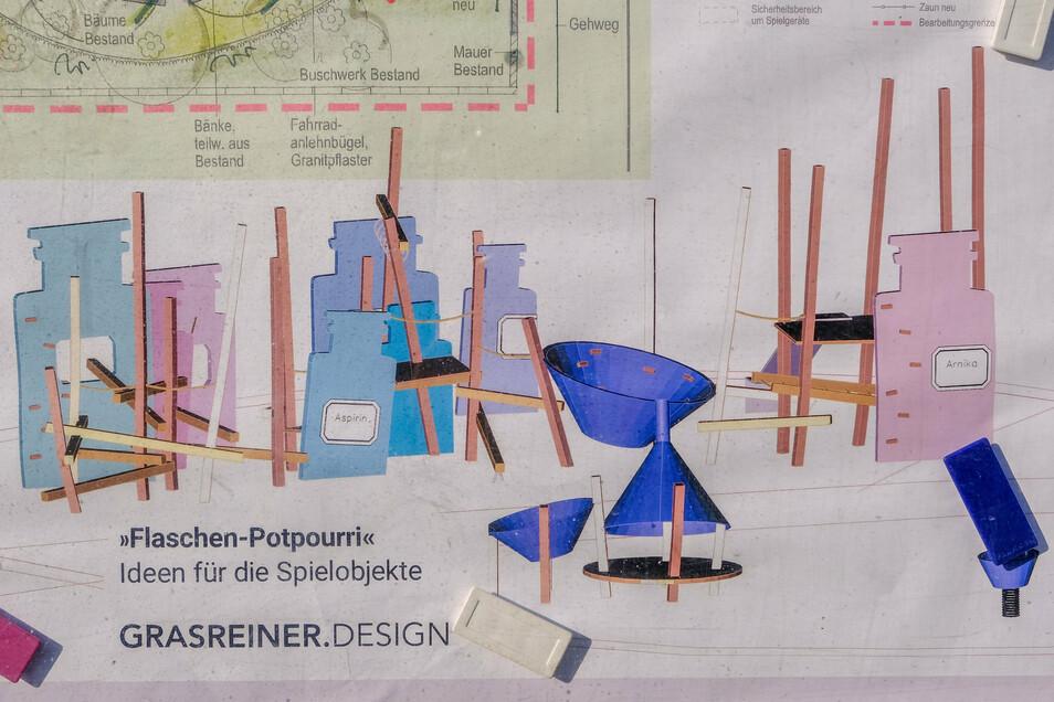 """""""Flaschen-Potpourri"""" lautet der Name für den Entwurf des Kletter- und Balanciergerüsts. Bei dessen Gestaltung dienen Utensilien einer Apotheke als Vorbild."""