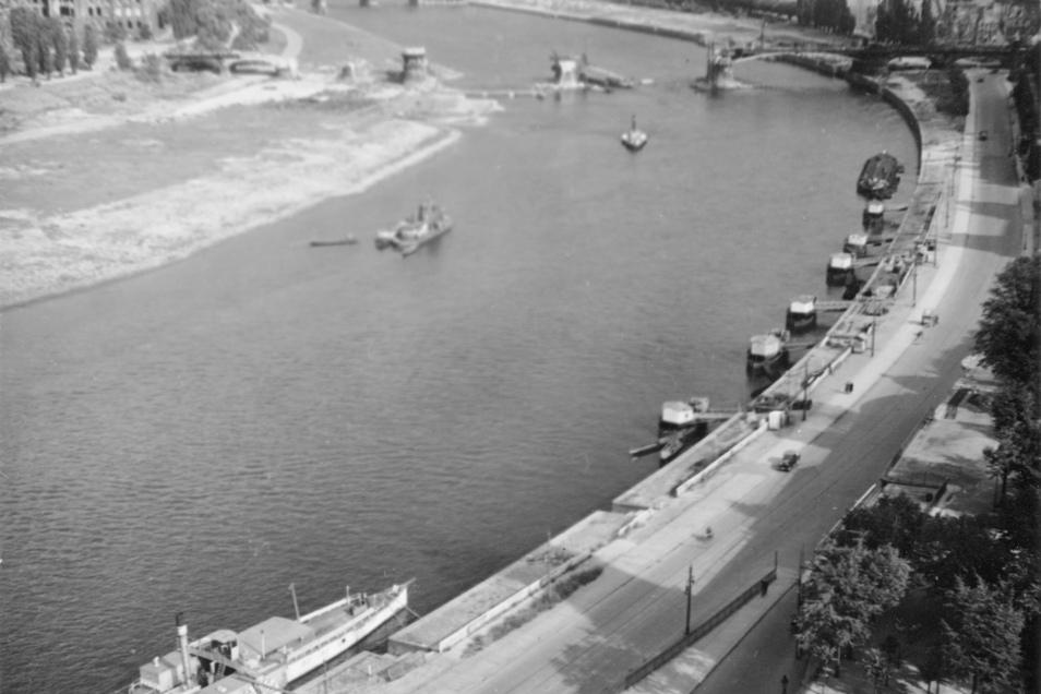 Auf der Elbansicht im Hintergrund ist die vergleichsweise gering beschädigte Albertbrücke nahezu repariert. Weiter vorn die Carolabrücke.