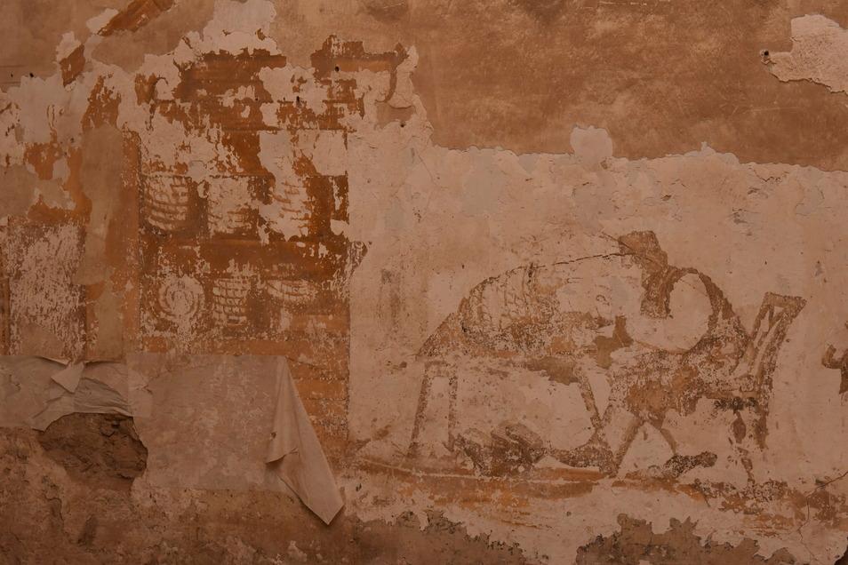 Diese Wandmalerei wurde im Schlosstorhaus entdeckt. Um sie den Besuchern zeigen zu können, muss noch viel passieren.