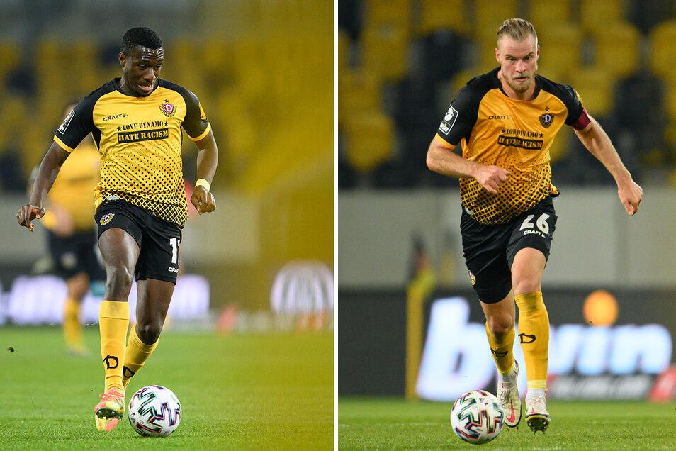 """""""Love Dynamo - hate racism"""": Mit diesem Schriftzug auf der Brust haben Dynamos Agyemang Diawusie (l.) und Sebastian Mai gegen Zwickau gespielt. Ihre Trikots und drei weitere wurden versteigert."""