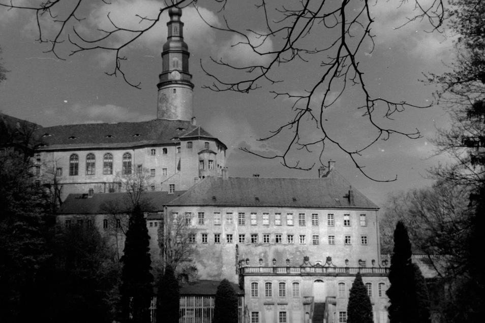 Schloss Weesenstein im Jahr 1946. Vom Park aus ist der Erker zu sehen, der zu Brigitte Mummes Wohnung gehört.