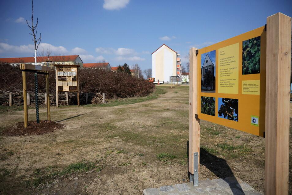 Der Bürgergarten soll einmal zur Selbstversorgung der Anwohner dienen. Die Tafeln greifen Naturthemen in Gedichten auf oder informieren über das Anliegen.