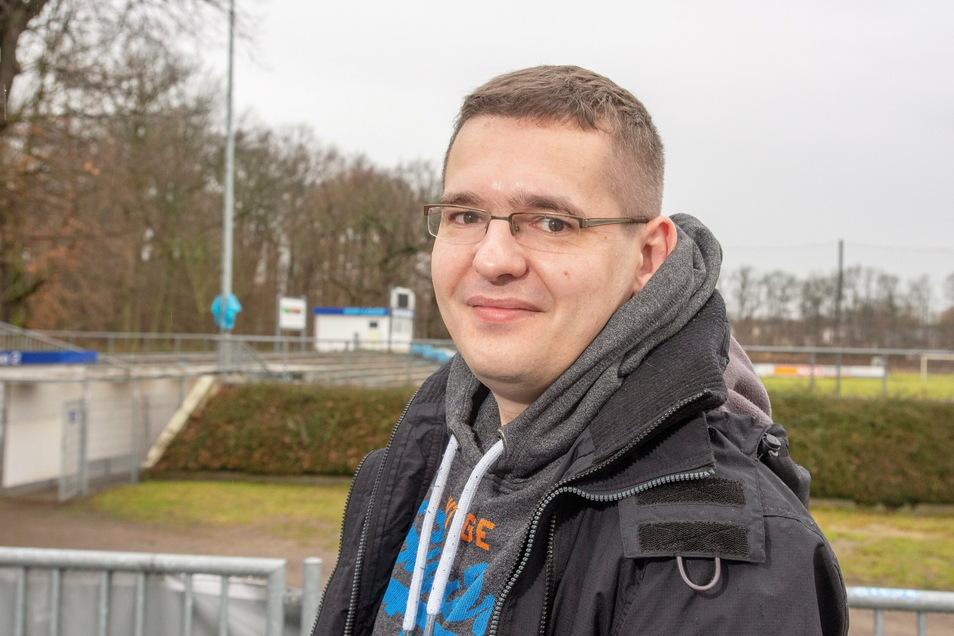 Dominic Neitzsch ist Vorstandsmitglied und Sprecher der BSG Stahl Riesa.