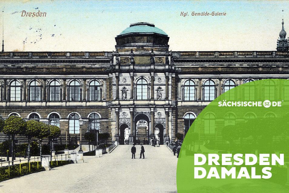 Die Dresdner Gemäldegalerie Alte Meister auf einer Postkarte um 1910.