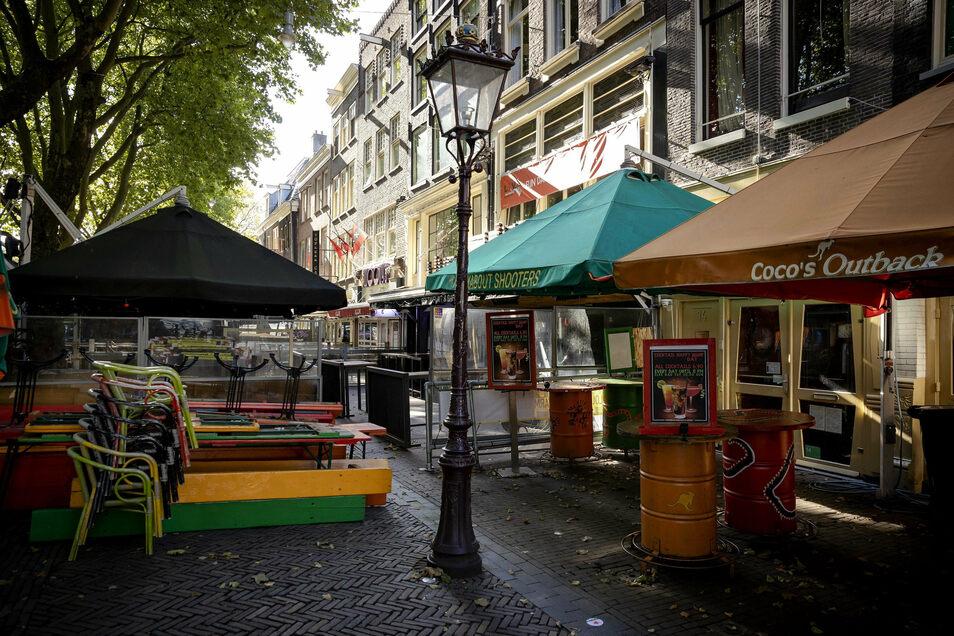 Geschlossene Restaurants in Amsterdams Innenstadt.