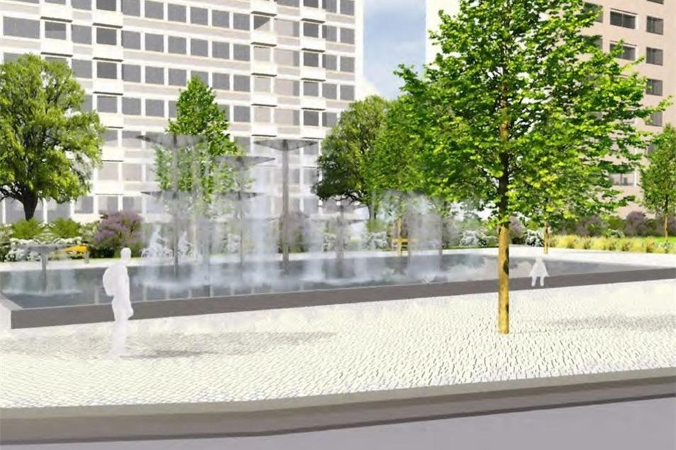 Der Schalenbrunnen Wasserspiel hat bis vor zehn Jahren die Fußgänger auf der Prager Straße erfreut. Nun findet das Werk von Leoni Wirth einen neuen Platz am Dippoldiswalder Platz.