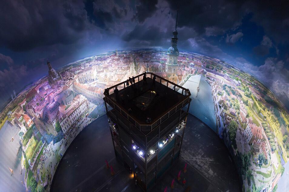 """Beeindruckendes Panorama - hier """"Dresden im Barock"""" - im Moment leider unsichtbar."""