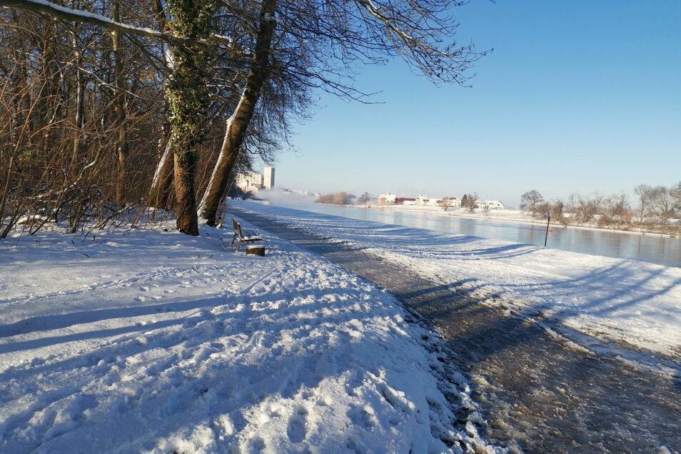 Eine winterliche Impression aus dem Riesaer Stadtpark, hinten das Muskator-Gelände, auf dem rechten Elbufer Promnitz.