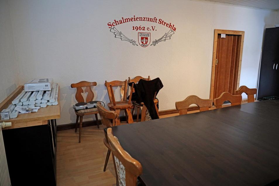 Verewigt ist der Verein schon: In diesem Erdgeschossraum soll einmal das Vorstandsbüro einziehen. Mitglieder haben schon einmal das Vereinslogo an die Wand gezeichnet.