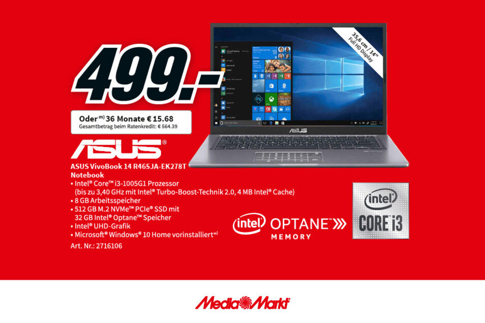 Das ASUS VivoBook 14 R 465JA-EK278T für nur 499€