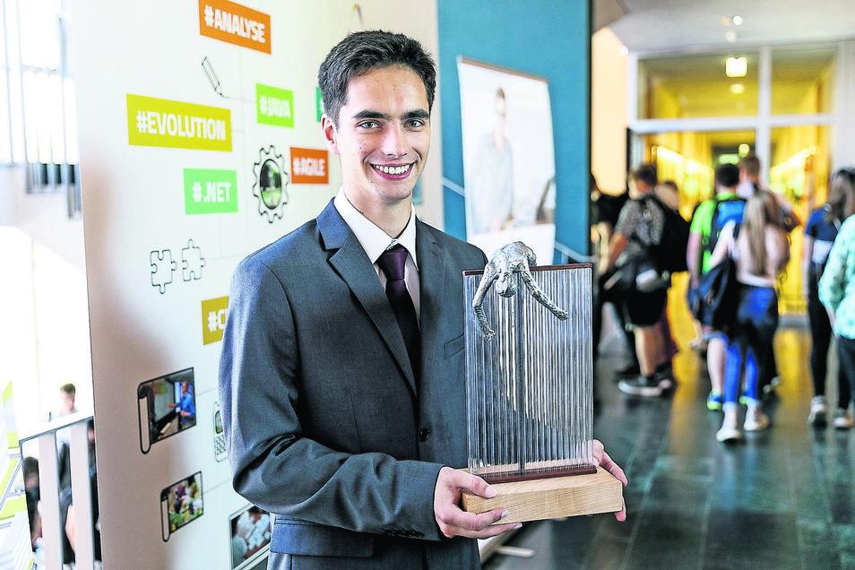 Nico Purschke freut sich über den Ideenpreis 2019. Der Görlitzer ist Student an der hiesigen Hochschule.