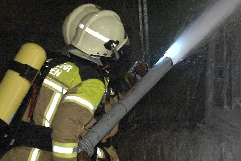 Zusätzlich zum Wasser setzte die Feuerwehr auch Schaum ein.