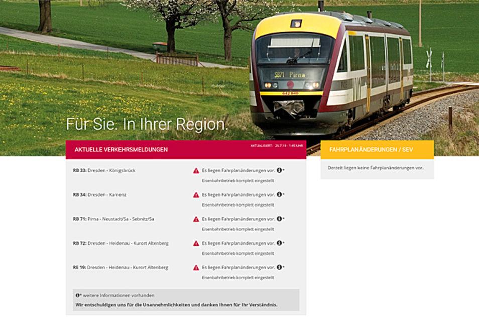 """""""Eisenbahnverkehr komplett eingestellt"""" heißt es auf der Website der Städtebahn."""