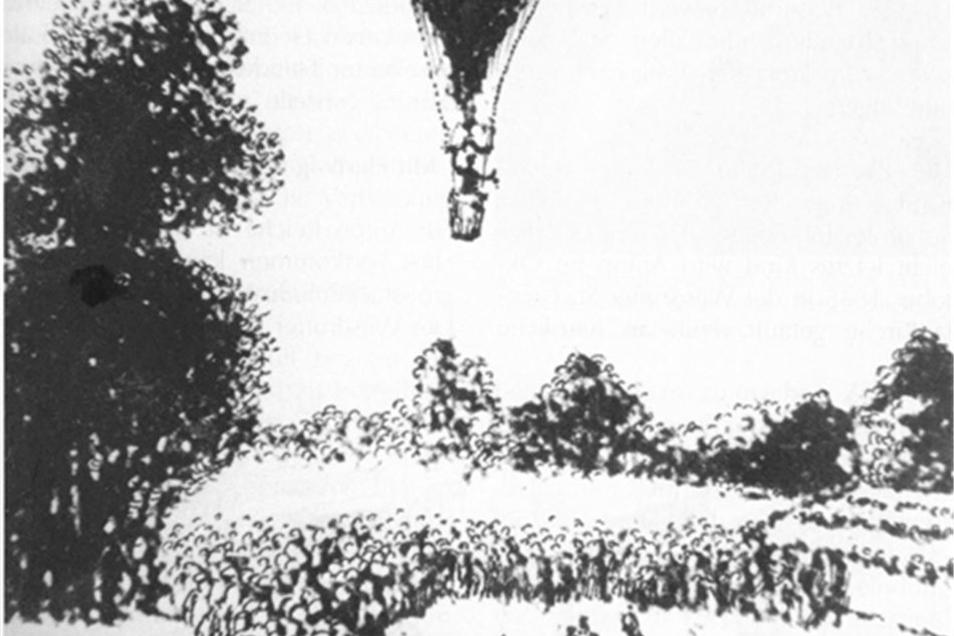 Die sechste Luftfahrt von Carl Gottfried Reichard am 6. September 1816 von Dresden aus.