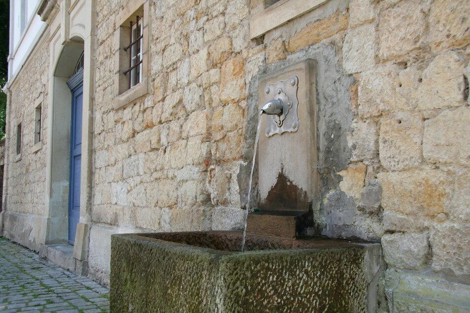 """Fischkopfbrunnen an der Pension """"Am Schloßberg"""" in Pirna: Er darf den ganzen Winter über sprudeln."""