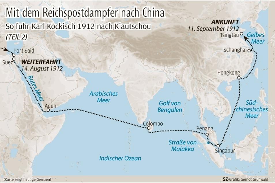 So verläuft Kockischs Seereise vom Suezkanal bis zur Kolonie-Hauptstadt Tsingtau.