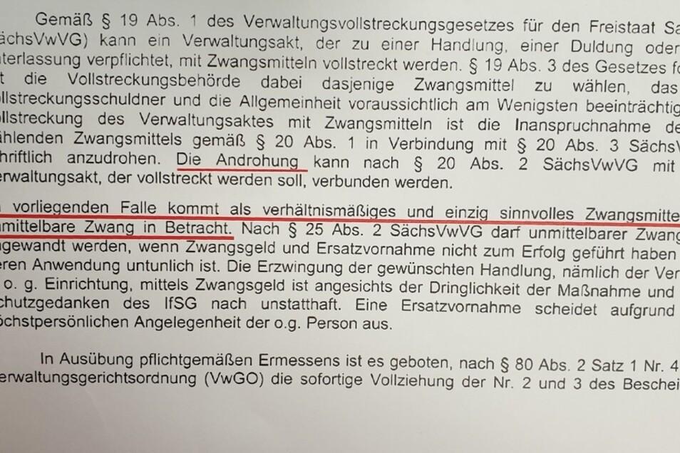 Auszug aus dem Schreiben des Görlitzer Gesundheitsamtes, Abteilung Infektionsschutz/Tuberkuloseberatung