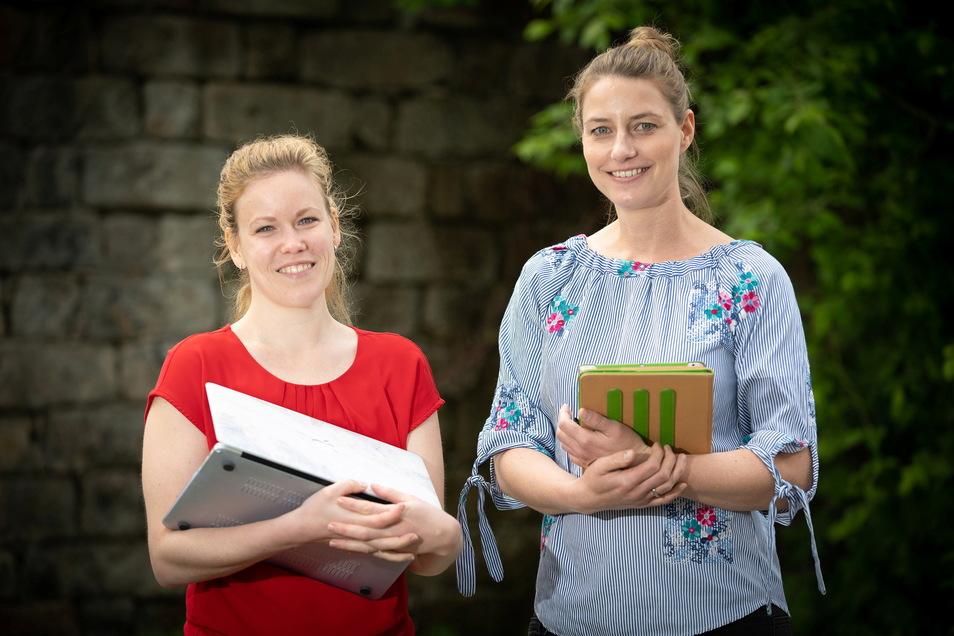 Stephanie Leichsenring (l.) und Susanne Sachse vom IfT Institut für Talententwicklung Mitte bereiten die Online-Messe für Dresden und Umgebung vor.