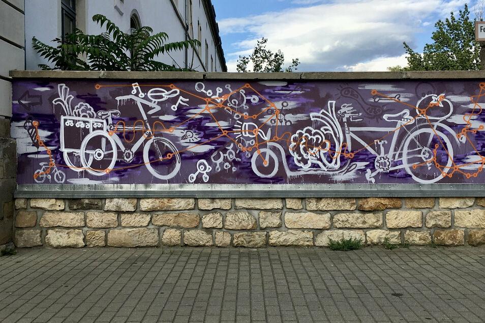 Wandbild in Dresden