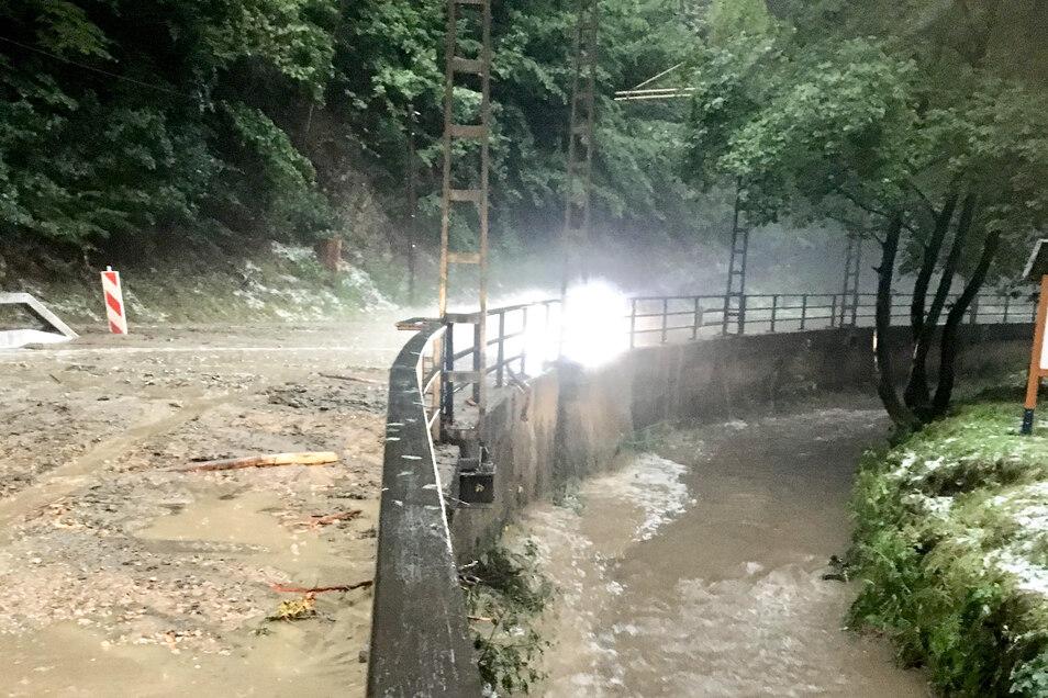 Mehrmals stürzten im vergangenen Jahr Wasser, Schlamm und Geröll ins Kirnitzschtal.
