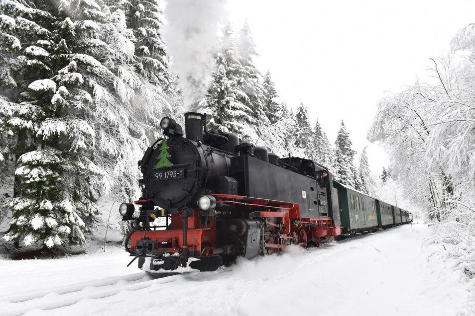 Die Weißeritztalbahn dampft durch den winterlichen Wald kurz vor Kipsdorf. Aber dieses idyllische Bild muss sich auch rechnen. Daher wurden zum Jahreswechsel die Fahrpreise im Schnitt um drei Prozent erhöht.