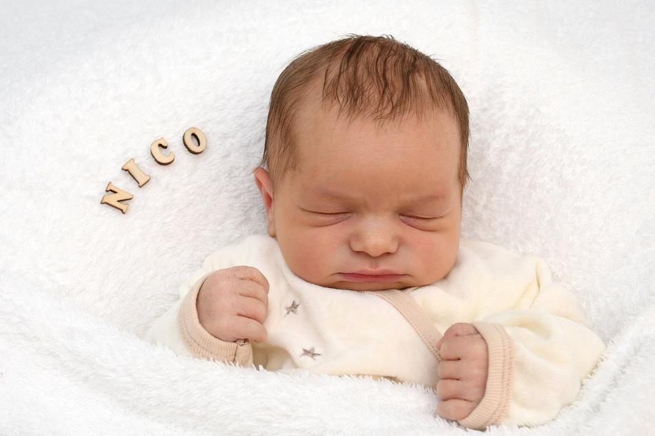 Nico, geboren am 10. März, Geburtsort: Freital, Gewicht: 3.640 Gramm, Größe: 51 Zentimeter, Eltern: Mandy und Patrick Aster, Wohnort: Bannewitz