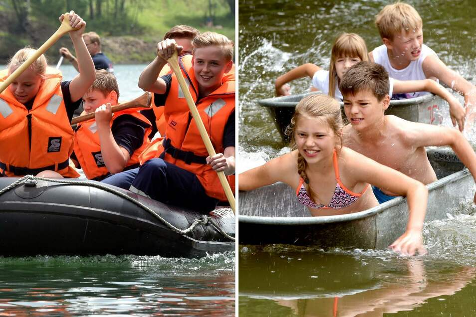 Zwei Wettbewerbe, zwei Gefährte: In Ostritz ging's mit dem Schlauchboot aufs Wasser, in Schönau-Berzdorf mit der Zinkwanne.