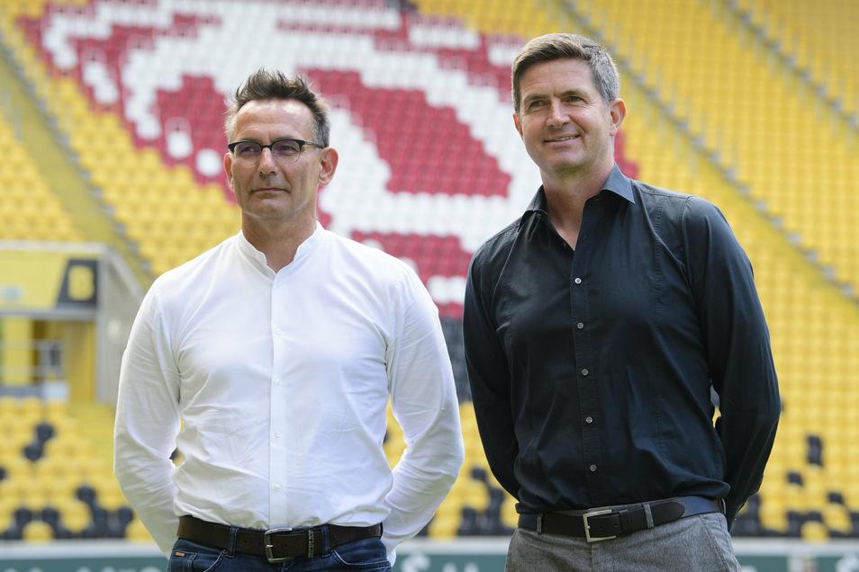 Dynamos Geschäftsführer Michael Born (links) und Ralf Becker wollen den Abstieg nicht einfach hinnehmen. Das haben sie mittlerweile auch der DFL mitgeteilt.