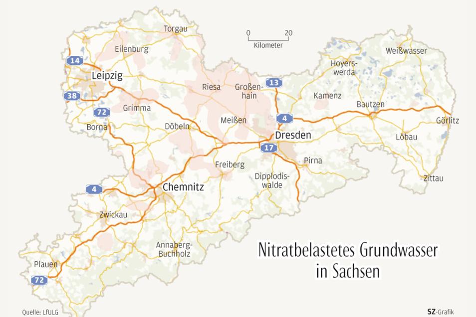 In den rötlich hervorgehobenen Gebieten ist die Nitratkonzentration im Grundwasser größer als der Grenzwert von 50 mg/l.