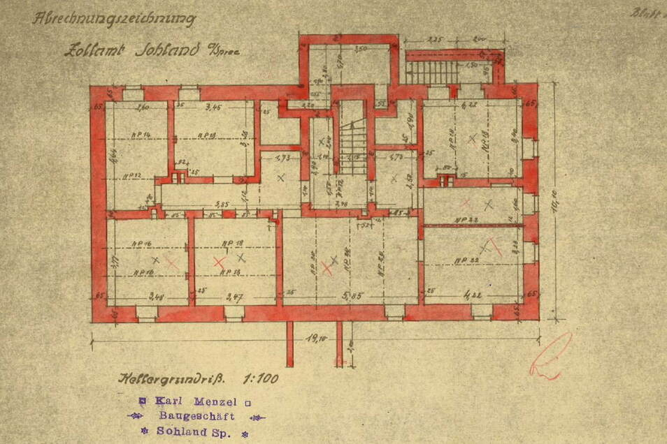 Der Raum überhalb des Treppenaufgangs wurde vermutlich verfüllt. Die beiden Räume rechts und links davon geben bis heute Rätsel auf.