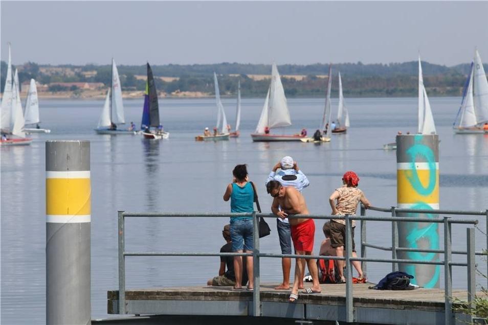 Einer der zahlreichen Höhepunkte des Lagunenfestes war der Segelcup. Vom Bootssteg lässt sich der Start des Wettbewebrs gut beobachten, was einige Zuschauer auch ausnutzten.